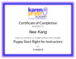 Certificate - Puppy Start Right for Instructors
